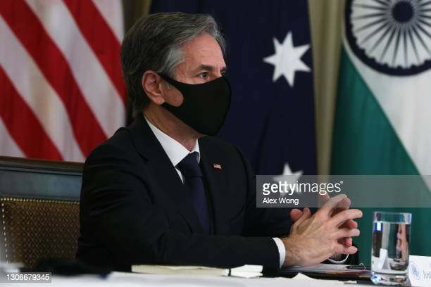 Secretary of State Anthony Blinken participates in a virtual meeting with leaders of Quadrilateral Security Dialogue countries March 12, 2021 at the...