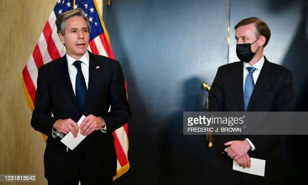Secretary of State Antony Blinken and National Security Advisor Jake Sullivan address the media following the closed-door morning talks between the...