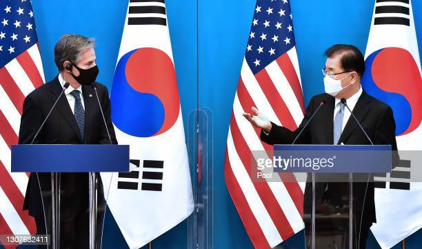 Secretary of State Antony Blinken and South Korean Foreign Minister Chung Eui-yong attend a joint press conference following a meeting with U.S....