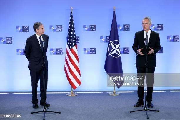 Secretary of State Antony Blinken and the transatlantic alliance NATO's chief Jens Stoltenberg hold a press conference on April 14, 2021 at NATO's...