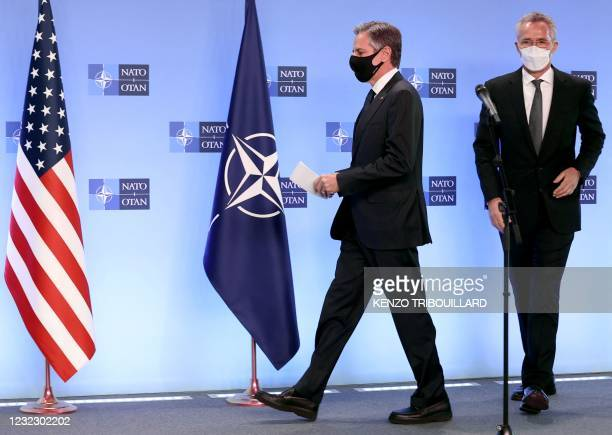 Secretary of State Antony Blinken and the transatlantic alliance NATO's chief Jens Stoltenberg arrives for a press conference on April 14, 2021 at...
