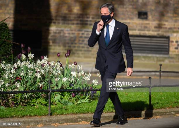 Secretary of State Antony Blinken arrives for a meeting with British Prime Minister Boris Johnson at Downing Street on May 04, 2021 in London,...