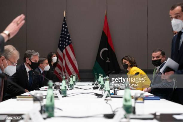 Secretary of State Antony Blinken attends a meeting with Libyan Prime Minister Abdul Hamid Dbeibeh at the Marriott Hotel in Berlin, Germany, on June...