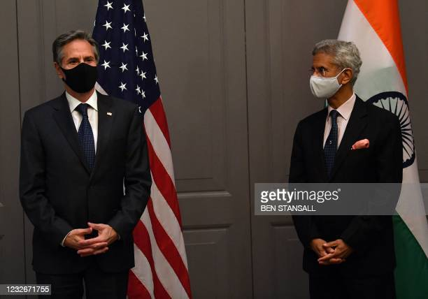 Secretary of State Antony Blinken attends a press conference with India's Foreign Minister Subrahmanyam Jaishankar following a bilateral meeting in...