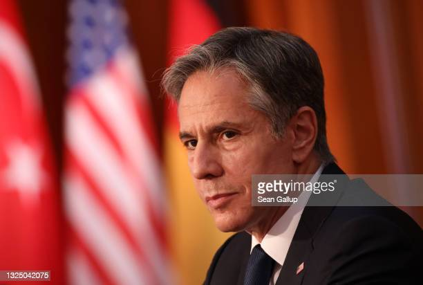 Secretary of State Antony Blinken attends the second international Libya conference on June 23, 2021 in Berlin, Germany. The conference is bringing...