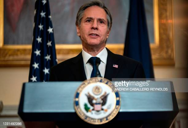 Secretary of State Antony Blinken delivers remarks about priorities for administration of US President Joe Biden in the Ben Franklin room at the...