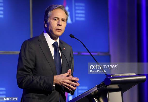 Secretary of State Antony Blinken delivers remarks at the National Security Commission on Artificial Intelligence Global Emerging Technology Summit...