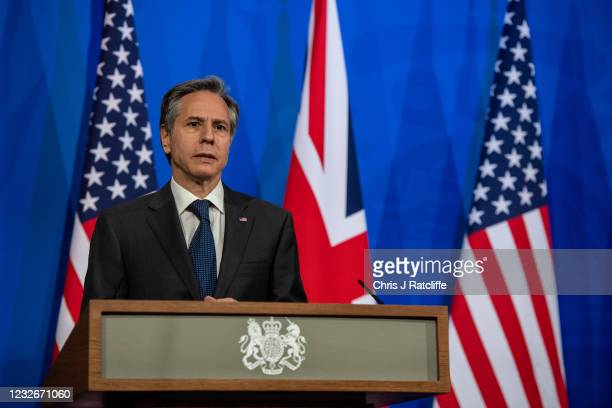 Secretary of State, Antony Blinken, during a joint press conference with UK Foreign Secretary, Dominic Raab, at Downing Street on May 3, 2021 in...