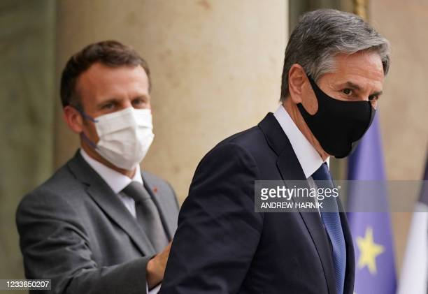 Secretary of State Antony Blinken leaves after meeting with French President Emmanuel Macron at the Elysee Palace, in Paris, on June 25, 2021.