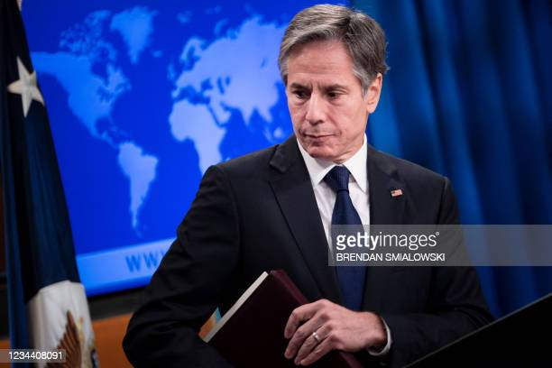 Secretary of State Antony Blinken leaves after speaking during a briefing at the State Department on August 2 in Washington, DC. - US Secretary of...