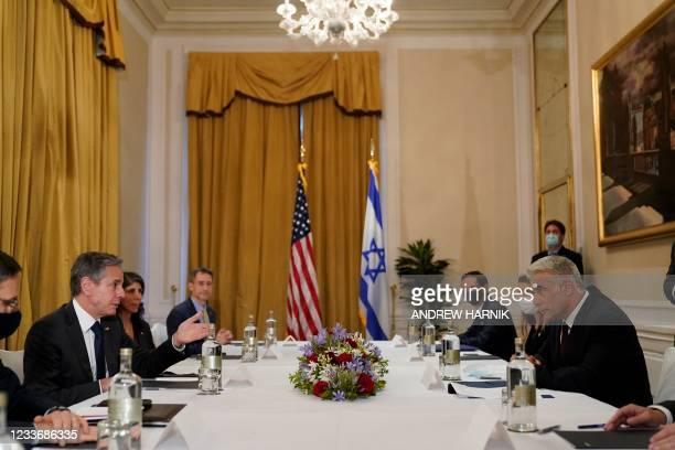 Secretary of State Antony Blinken meets Israeli Foreign Minister Yair Lapid in Rome, on June 27, 2021. - Israel's new foreign minister in his first...