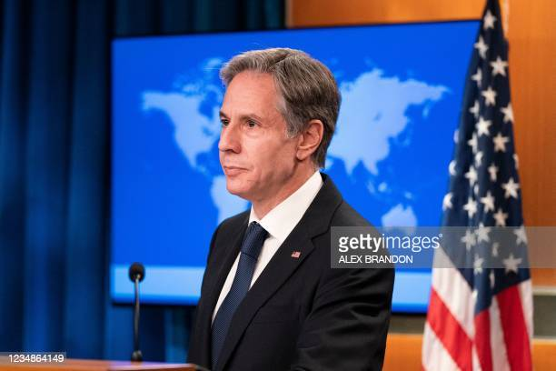 Secretary of State Antony Blinken speaks about Afghanistan during a media briefing at the State Department,on August 25 in Washington,DC.