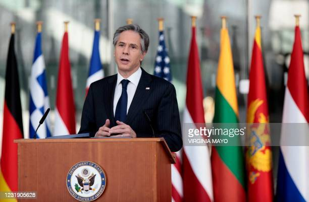 Secretary of State Antony Blinken speaks after a meeting of NATO foreign ministers at NATO headquarters in Brussels on March 24, 2021. - The United...