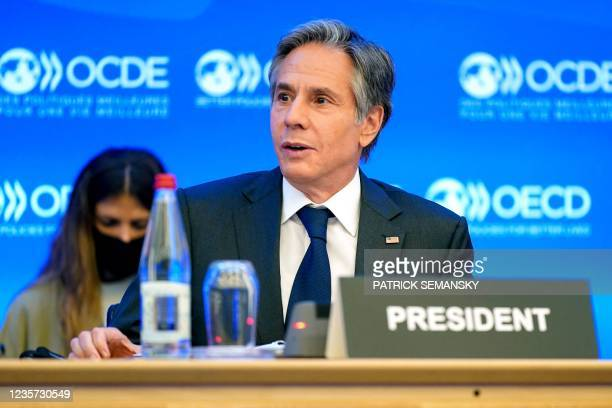 Secretary of State Antony Blinken speaks during a closing session at the Organisation for Economic Cooperation and Development's Ministerial Council...