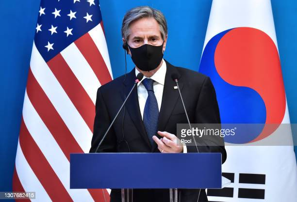 Secretary of State Antony Blinken speaks during a joint press conference following a meeting with U.S. Secretary of Defense Lloyd Austin, South...