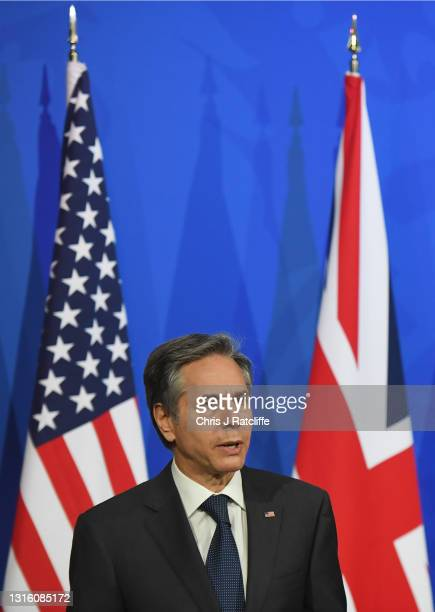 Secretary of State, Antony Blinken speaks during a press conference at Downing Street on May 3, 2021 in London, England. This is the first visit to...