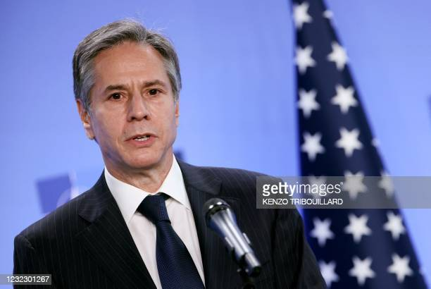 Secretary of State Antony Blinken speaks during a press conference with transatlantic alliance NATO's chief on April 14, 2021 at NATO's headquarters...