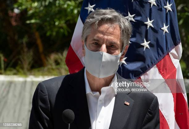 Secretary of State Antony Blinken speaks during the launch of the National Land Use, Land Cover, and Ecosystems Monitoring System in San Jose, on...