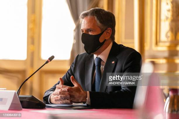 Secretary of State Antony Blinken speaks while meeting with French Foreign Affairs Minister at the French Ministry of Foreign Affairs in Paris, on...