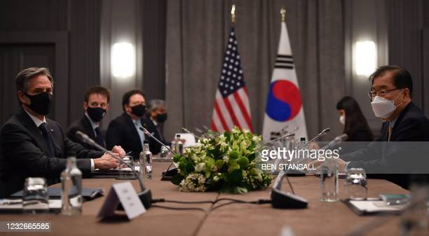 Secretary of State Antony Blinken speaks with South Korea's Foreign Minister Chung Eui-yong during a bilateral meeting in London on May 3 during the...
