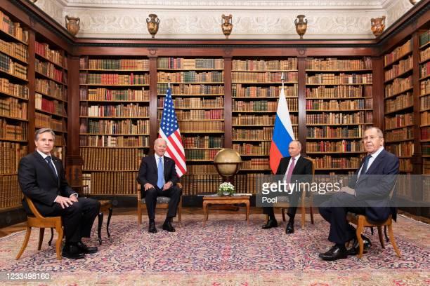 Secretary of State Antony Blinken, U.S. President Joe Biden, Russian President Vladimir Putin and Russian Foreign Minister Sergei Lavrov meet during...