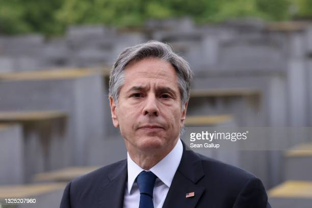 Secretary of State Antony Blinken visits the Memorial to the Murdered Jews of Europe, also called the Holocaust Memorial, on June 24, 2021 in Berlin,...