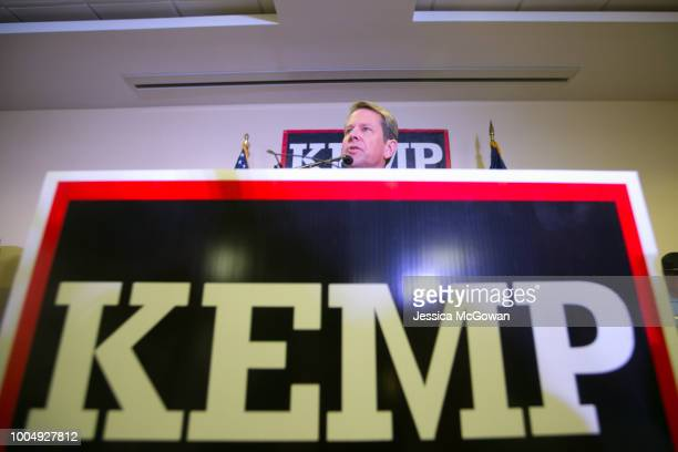 Secretary of State Brian Kemp addresses the audience and declares victory during an election watch party on July 24 2018 in Athens Georgia Kemp...