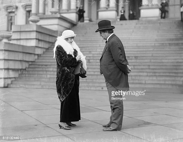 Secretary of State Bryan and Miss Elsie Blair, the Hearst-Selig girl.