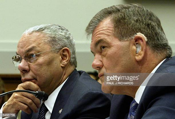 Secretary of State Colin Powell and Homeland Security Secretary Tom Ridge testify before the US House Judiciary Committee 21 April 2004 Captiol Hill...