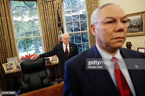 Secretary of State Colin Powell and Vice-President Dick Cheney listen to United States President George W. Bush's meeting with United Nations...