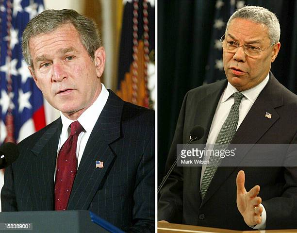 In this composite image a comparison has been made between former US President George W Bush and his serving Secretary of State Colin Powell...
