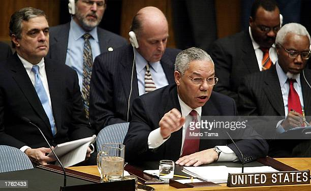 S Secretary of State Colin Powell gestures during his address to the UN Security Council February 5 2003 in New York City Powell is making a...