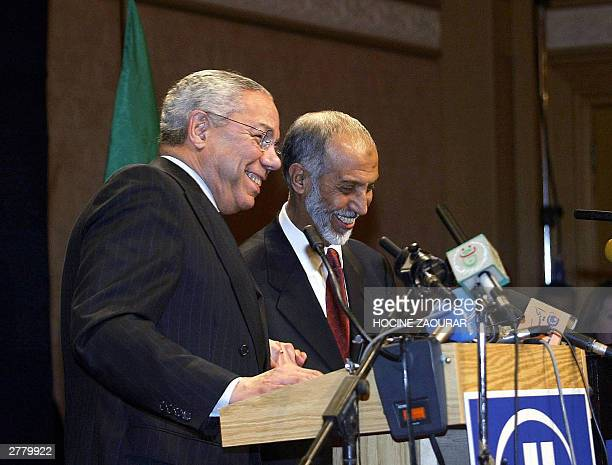 Secretary of State Colin Powell gives a joint press conference with Algerian Foreign Minister Abdelaziz Belkhadem at the Hilton hotel in Algiers 03...