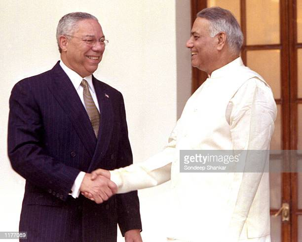S Secretary of State Colin Powell shakes hands with India's Foreign Minister Yashwant Sinha July 27 2002 in New Delhi India Powell is visiting New...