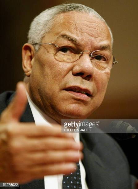 Secretary of State Colin Powell testifies before the Senate Foreign Relations Committee on Capitol Hill 09 September 2004 in WashingtonDC Powell...