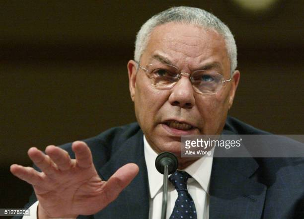 S Secretary of State Colin Powell testifies during a hearing on the current situation in Sudan before the Senate Foreign Relations Committee...