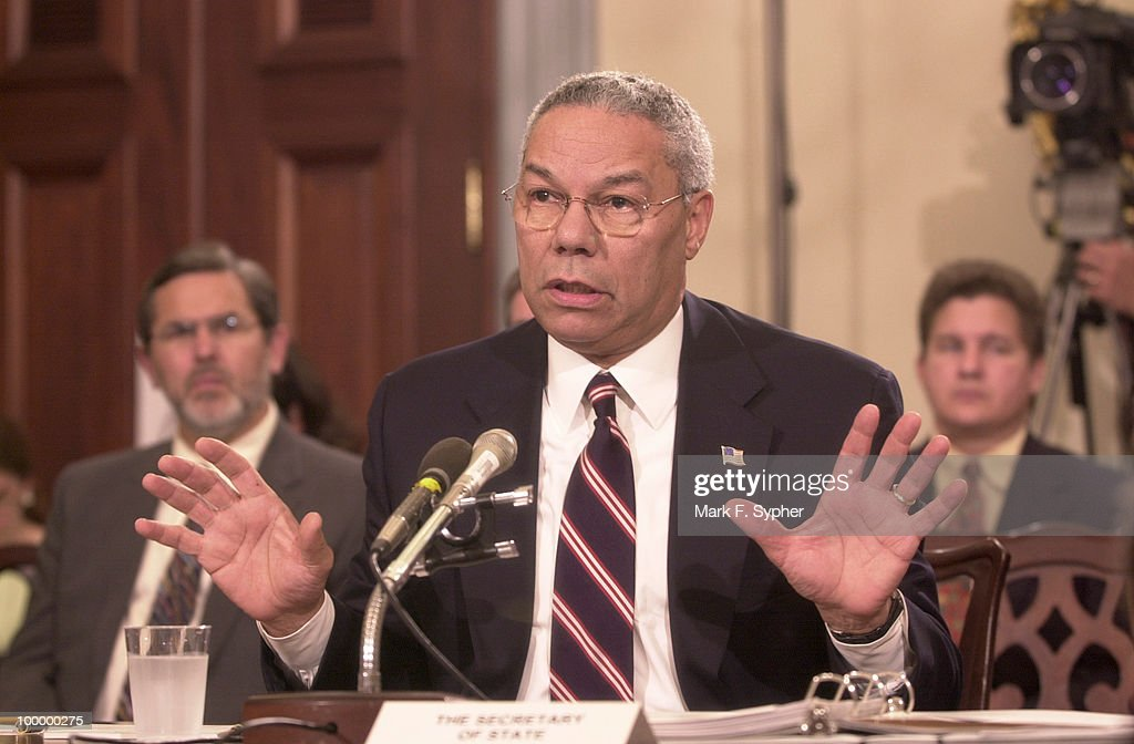 Secretary of State, Colin Powell,in the U.S. Capitol to give congress information on recent developments on the fight against terror.