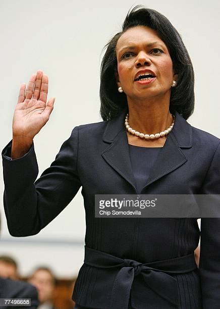 S Secretary of State Condoleeza Rice takes an oath to tell the truth before the House Government Reform and Oversight Committee on October 25 2007 in...