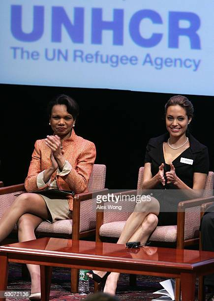 S Secretary of State Condoleezza Rice and actress and Goodwill Ambassador for the United Nations High Commissioner for Refugees Angelina Jolie...