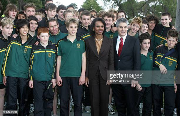 US Secretary of State Condoleezza Rice and Australian Foreign Affairs Minister Stephen Smith pose with a group of Wesley College students at King's...