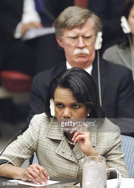 Secretary of State Condoleezza Rice and US Ambassador to the United Nations John Bolton listen to proceedings during a meeting of the United Nations...