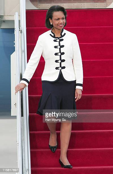 Secretary of State Condoleezza Rice arrives at Seoul Airport in Gyeonggi Province 12 July 2005. Rice's trip to China, Thailand, Japan and South Korea...
