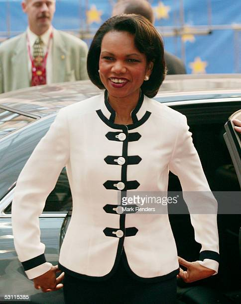 S Secretary of State Condoleezza Rice arrives at the Justus Lipsius building to attend the International Foreign Ministers meeting on rebuilding Iraq...