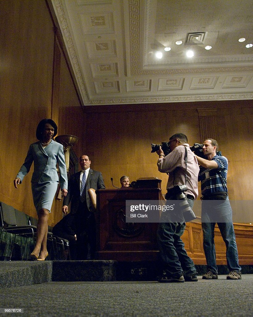Secretary of State Condoleezza Rice arrives to testify during the Senate Appropriations State, Foreign Operations, and Related Programs Subcommittee hearing on the FY2008 foreign operations budget on Thursday, May 10, 2007.