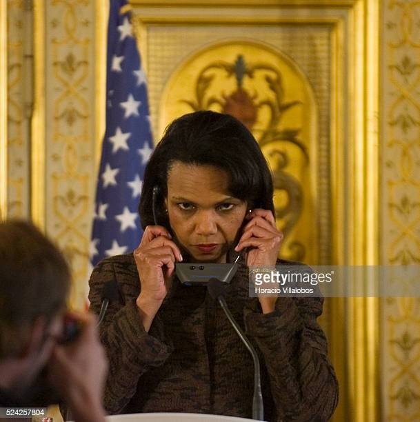 Secretary of State Condoleezza Rice attends a press conference she hosted with French Foreign Minister Philippe Douste-Blazy after a meeting at the...