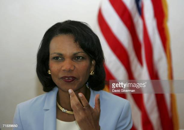 Secretary of State Condoleezza Rice gestures at the start of her meeting with Israeli Defense Minister Amir Peretz unseen July 30 2006 in Jerusalem...