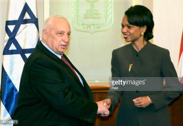 Secretary of State Condoleezza Rice is welcomed by Israeli Prime Minister Ariel Sharon on February 6 2005 in Jerusalem Israel Rice began her two day...