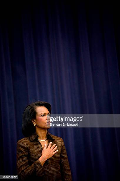 Secretary of State Condoleezza Rice listens to the Star Spangled Banner during a Black History Month event at the US State Department February 22...
