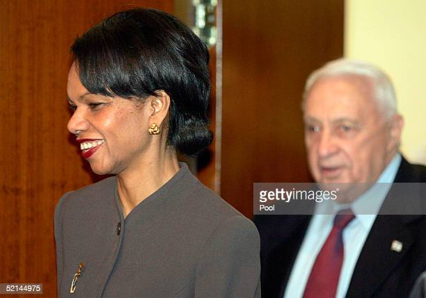 Secretary of State Condoleezza Rice meets Israeli Prime Minister Ariel Sharon on February 6 2005 in Jerusalem Israel Rice began her two day visit to...