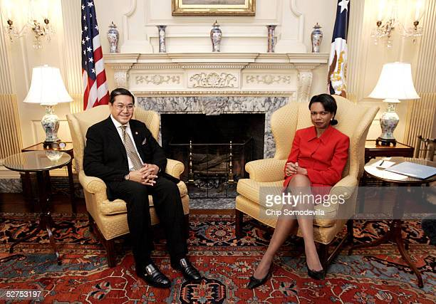 Secretary of State Condoleezza Rice meets with the Deputy Prime Minister of the Kingdom of Thailand Surakiart Sathirathai May 3 2005 at the US...